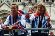 Kristina Cook and Carl Hester, Equestrian. Olympic and Paralympic Victory Parade 2012