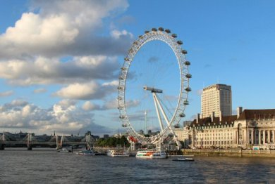 London Eye, County Hall, Jubilee and Hungerford Bridges. London 2012 Olympic Games