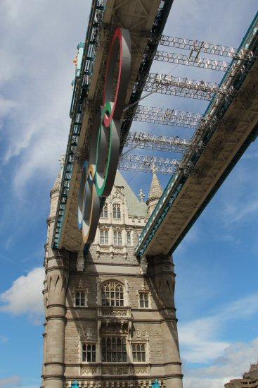 Olympic Rings under Tower Bridge Walkway. London 2012 Olympic Games