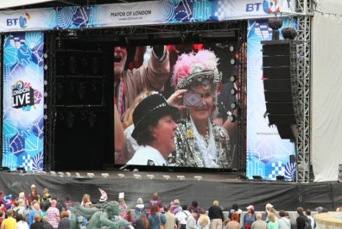 Pearly Queen, Live Screen, Trafalgar Square. Olympic and Paralympic Victory Parade 2012