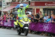 Police motorcyclist, Dorking. Women's Olympic Road Cycling Road Race, 2012