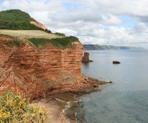Red sandstone cliffs, Sandy Bay and Beer Head, next to Ladram Bay