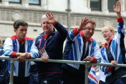 Tony Larkin and 5 a-side footballers. Olympic and Paralympic Victory Parade 2012