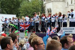 Wheelchair Fencing float. Olympic and Paralympic Victory Parade 2012