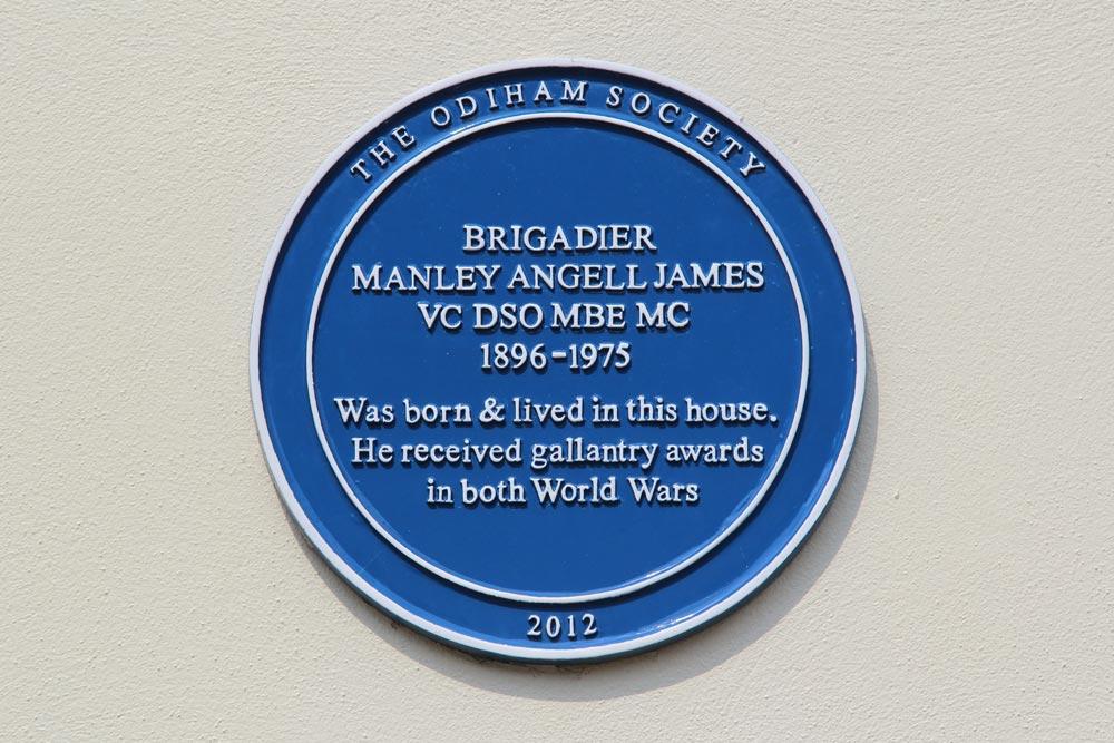 Blue Plaque, home of Brigadier Manley Angell James, High Street, Odiham