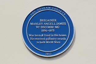 Blue Plaque, home of Brigadier Manley Angell James, High Street, Odiham