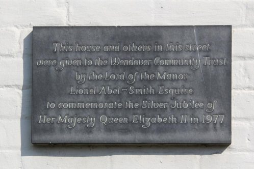 Plaque on cottages to Lionel Abel-Smith, Pound Street, Wendover