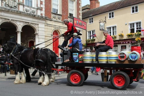Dray horses, Windsor & Eton Brewery, The Queen's 90th Birthday, Windsor