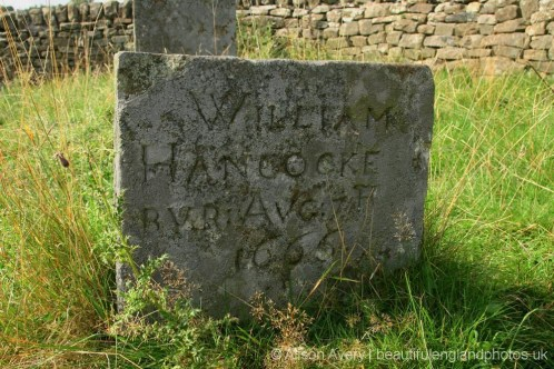 Grave of William Hancocke, plague victim, Bur Aug 17th 1666, Riley Graves, Eyam