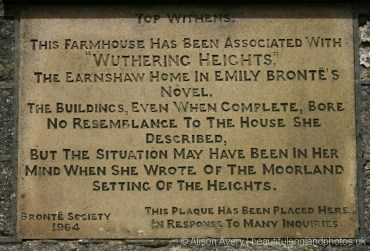 Plaque on wall of Top Withens, Haworth Moor