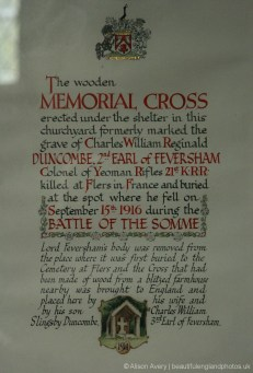 Memorial Cross information about Charles Duncombe, St Mary's Church, Rievaulx