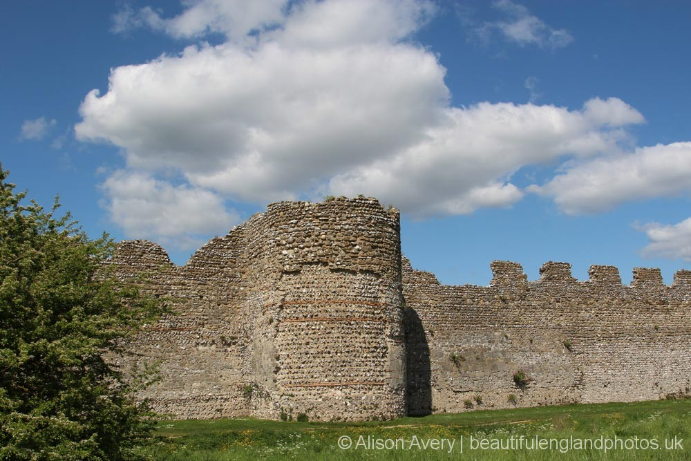 D-shaped Roman Tower, South Wall, Roman Fort, Portchester Castle, Portchester
