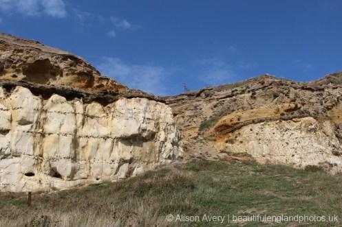 Chalk and flint cliffs, below Castle Hill, Newhaven