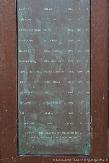 Chart showing distances from The Greenwich Meridian Marker, Peacehaven