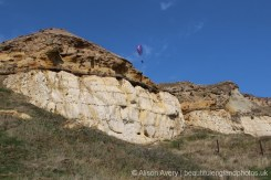 Hang glider, above chalk and flint cliffs, Castle Hill, Newhaven