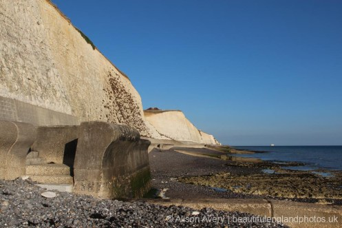 Western end and steps of Undercliff Walk, from beach, Telscombe Cliffs