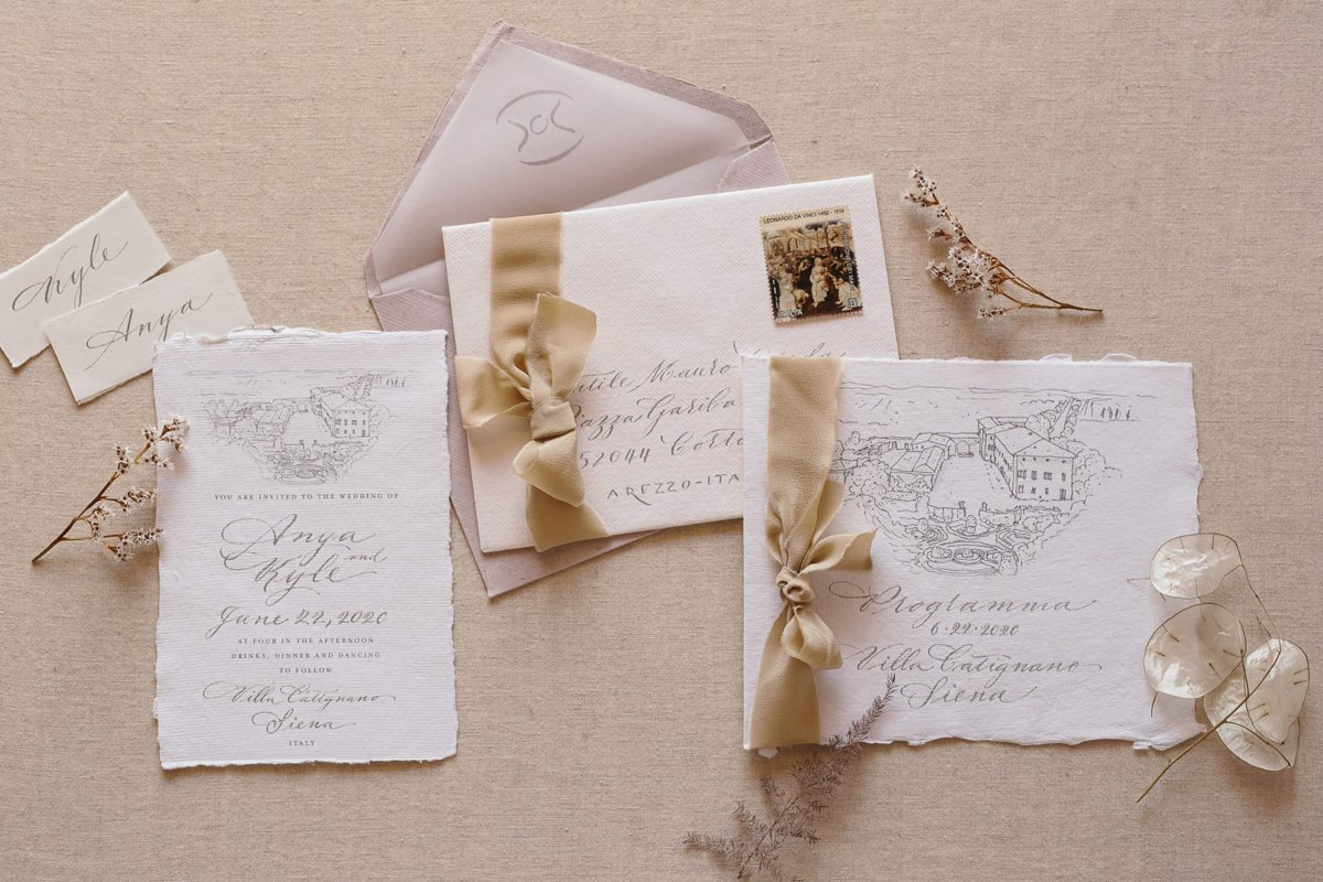 why you need save the date cards - wedding calligraphy studio in Italy - romantic and classic wedding invitation