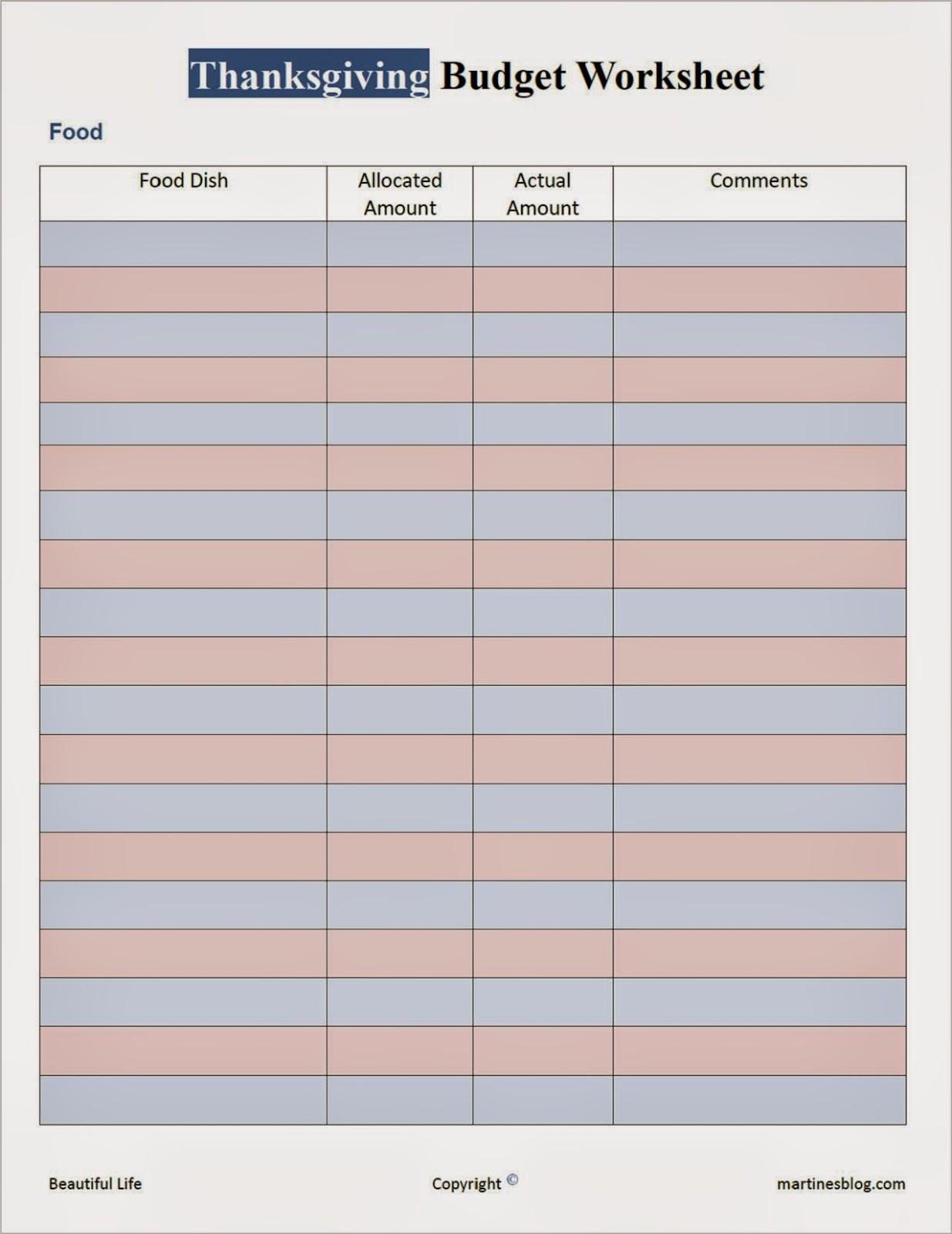 Thanksgiving Budget Worksheet