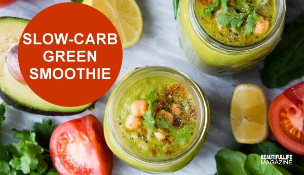 This Slow-Carb Green Smoothie is high in protein, loaded with veggies, savory flavors, and is incredibly delicious to boot!