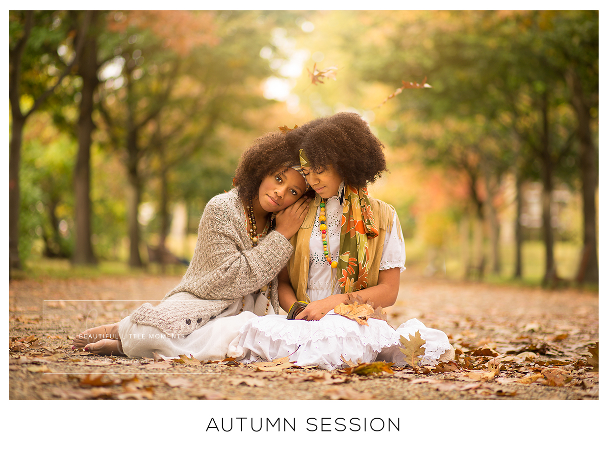 autumn photograp twin girls epsom