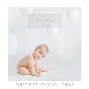 first birthday photos with white balloons