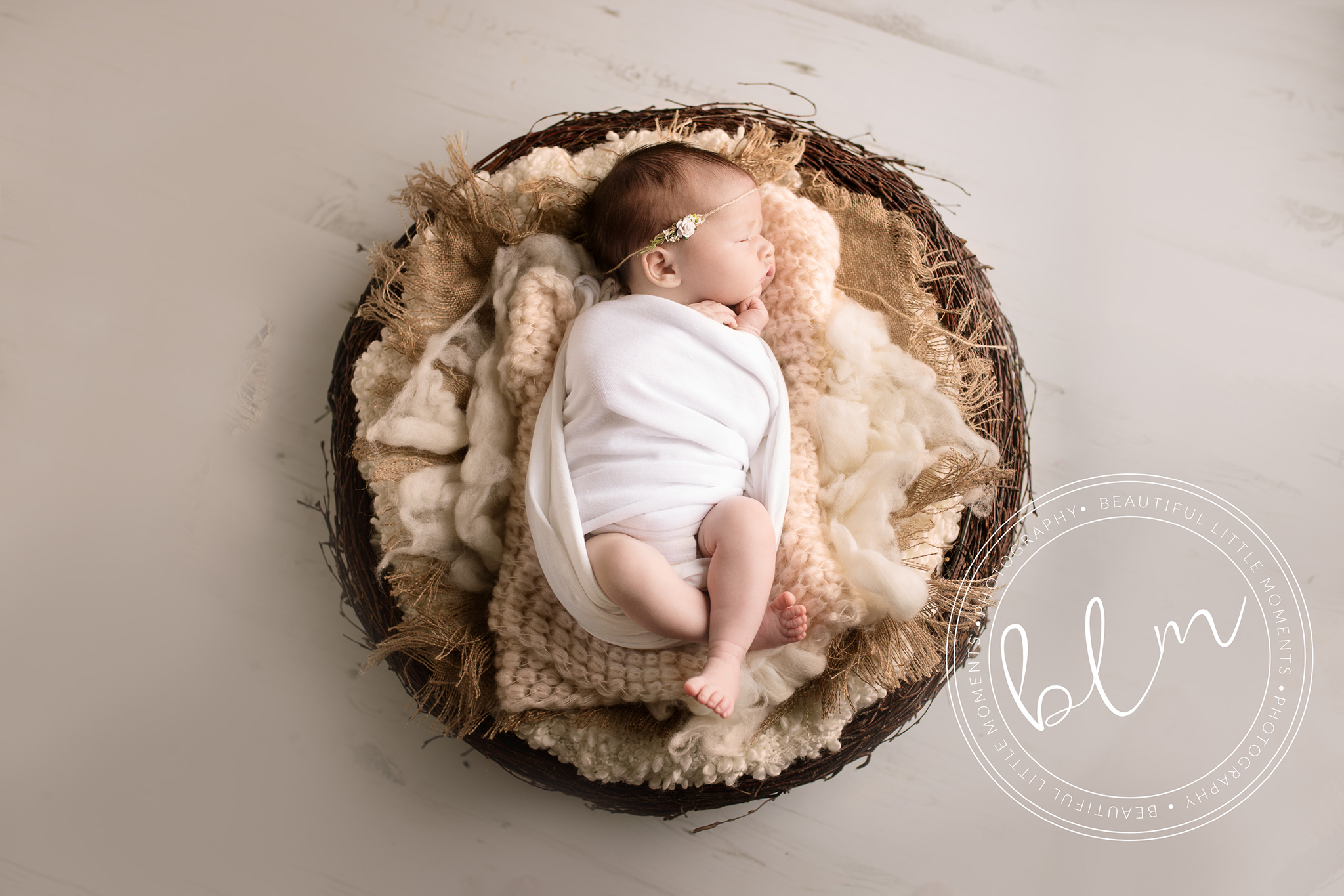 wooden nest baby girl photo shoot epsom surrey