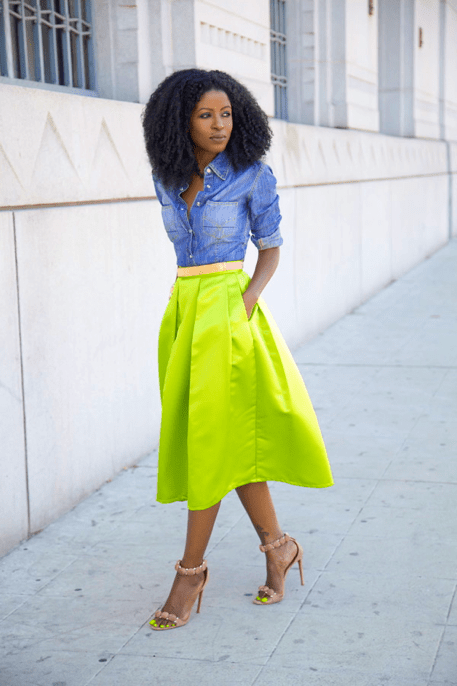 denim shirt with a chartreuse skirt