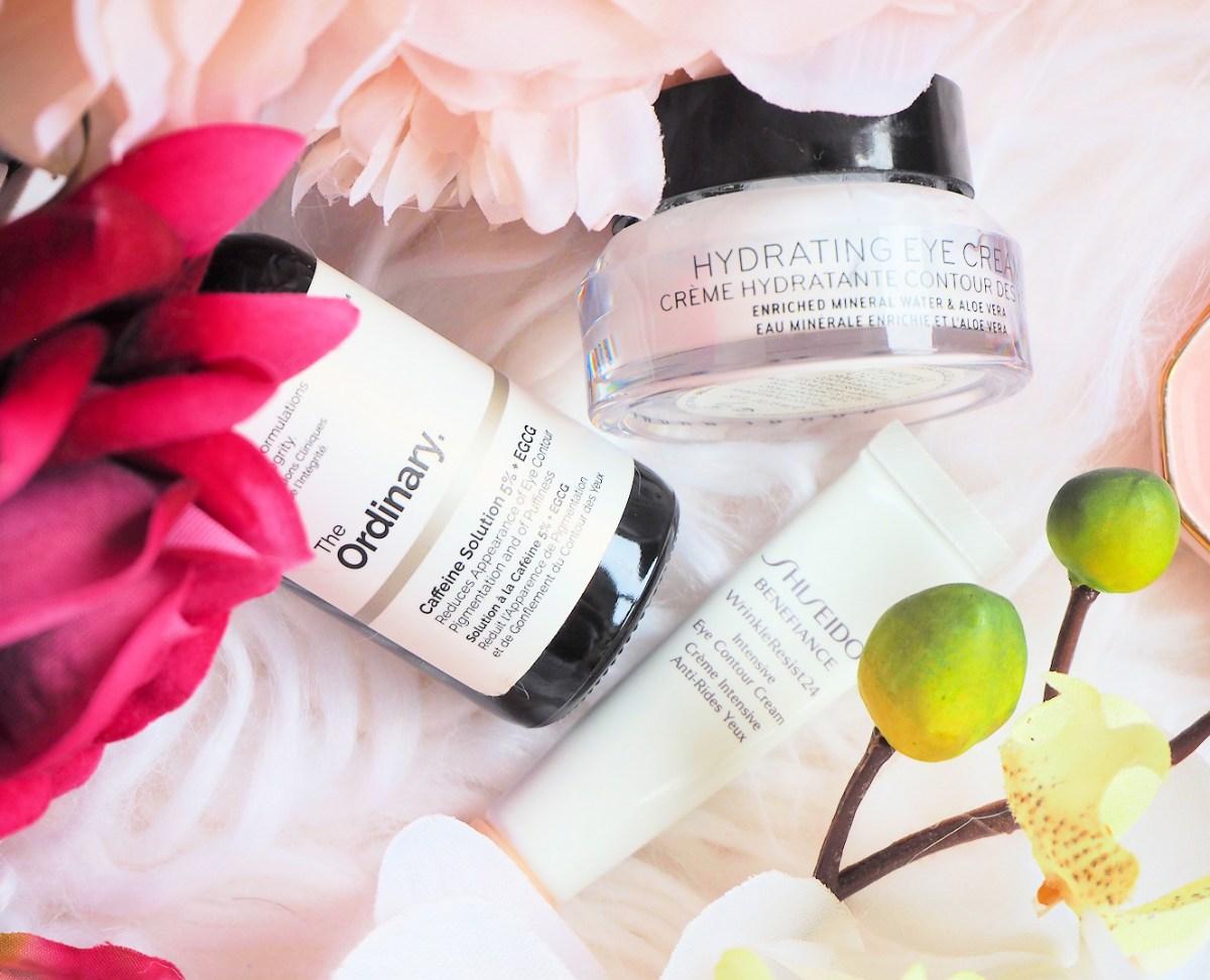 Bobbi Brown Hydrating Eye Cream, The Ordinary Caffeine Solution & Shiseido Benefiance WrinkleResist24 Intensive Eye Contour Cream