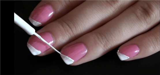 Simple Easy White Stripe On Pink Nail Art Step 2