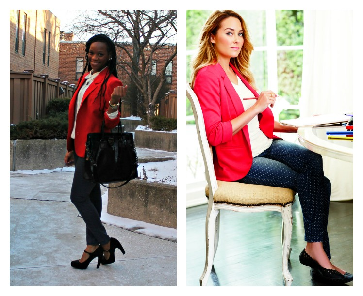 glamspiration lauren conrad in spring 2013 lc kohls collection polka dot jeans red blazer white blouse black shoes beauty and the beat blog1 Blouses Kohls