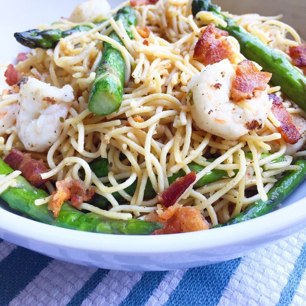 Protein Packed Bacon Shrimp Pasta