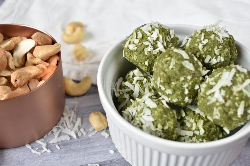 matcha collagen cashew bites
