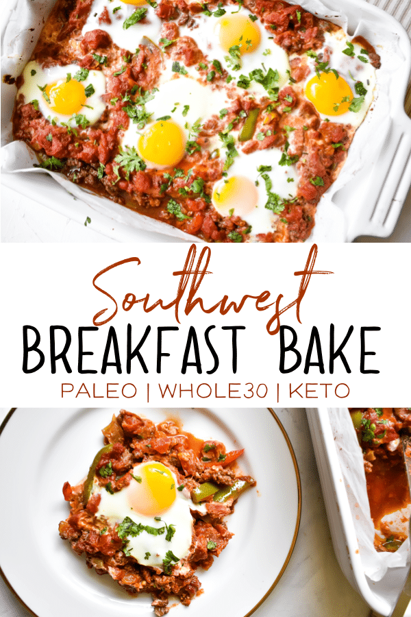 This Southwest Breakfast Bake is healthy and delicious! It's keto friendly, paleo and Whole30 compliant. It's simple to make and so full of flavor! It's sure to become a staple in your breakfast routine! #whole30recipes #keto #paleo