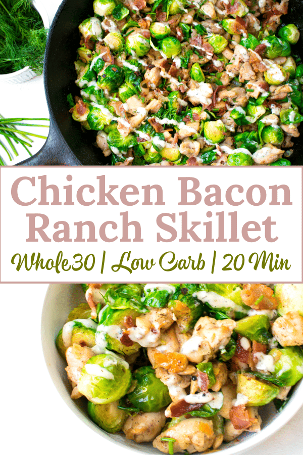 This chicken bacon ranch skillet is a healthy and delicious meal that comes together in 20 minutes. This recipe is Whole30 compliant, Keto friendly and perfect for meal prep #whole30 #whole30recipes #paleo #keto