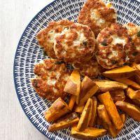 Halloumi Turkey Burgers & Sweet Potato Wedges