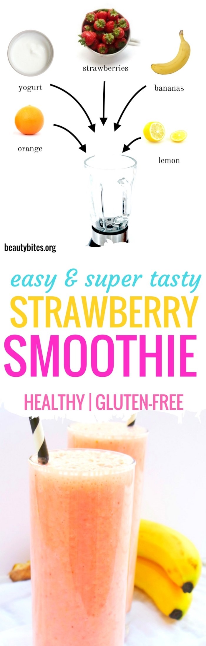 Easy and healthy strawberry smoothie! Make this healthy snack in less than 5 minutes, so tasty and so easy and it tastes like a strawberry colada (without the alcohol)! | beautybites.org | easy healthy smoothie #healthysmoothie