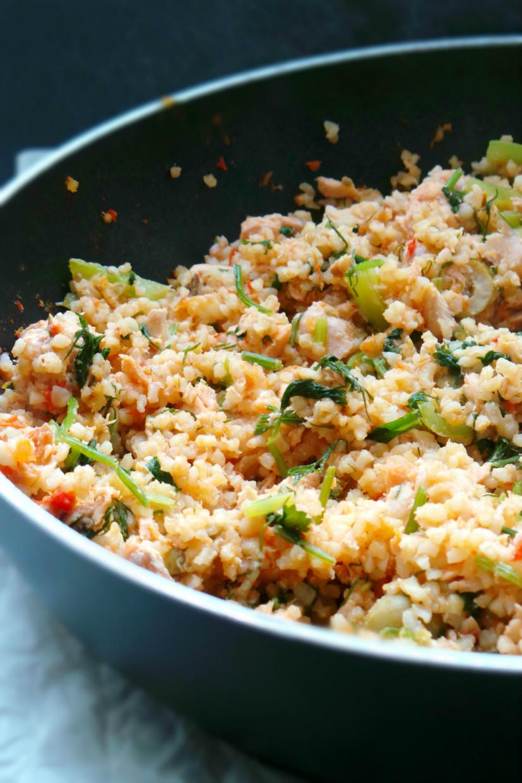 salmon bulgur risotto