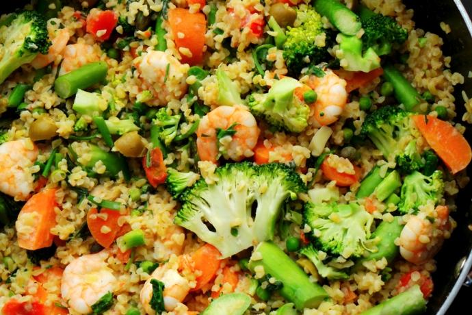 Bulgur with Shrimp and Vegetables Recipe
