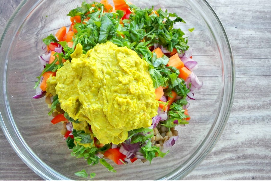 With this delicious healthy salad recipe, I forgot all about chickpea sandwich salad! Meet potato lentil salad - perfect for lettuce wraps or sandwiches, it just makes you eat more and more! In a good way (yes there's a good way). It's not super quick, but it's worth it! This clean eating salad is vegan, gluten-free, high-fiber and antioxidant-rich & famous. But most importantly - it tastes AMAZING!