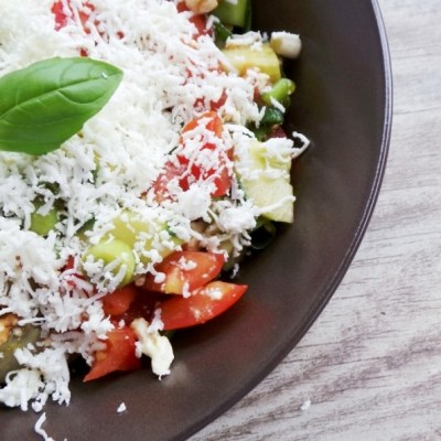 Tomatoes, Cucumber and Feta Cheese Summer Salad