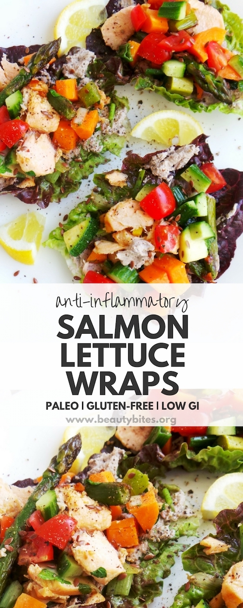 A super tasty anti-inflammatory recipe - salmon lettuce wraps! This healthy recipe is low GI, got the omega-3's from salmon and the antioxidants from the herbs and vegetables - all important to reduce inflammation! You need to try this flavorful low carb paleo wrap recipe - I think you'll love it! | Anti Inflammation Diet Recipes