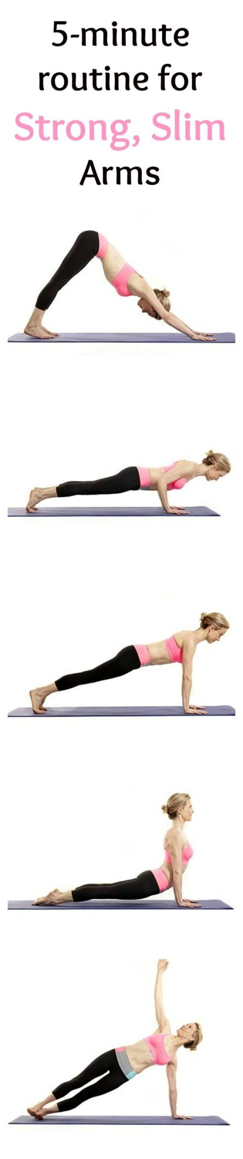 Want to tone your arms? Try these arm workouts or toned, strong and beautiful arms. These quick workouts take 5 minutes of your time and you can do them daily, whenever you have the time. This amazing list includes 5-minute ab workouts for flat belly, 5-minute butt workouts, 5-minute leg workouts and inner thigh workouts and 5-minute arm workouts. Most of these exercises require almost no equipment. Some of them - just a pair of dumbbells and you can do them at home or anywhere you want. Have fun!