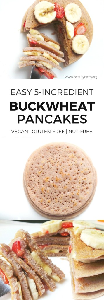 These gluten-free & vegan buckwheat pancakes are proof that you can make tasty fluffy pancakes without any gluten, eggs or milk. Even if that milk is dairy-free. All you need for this healthy breakfast recipe are 5 ingredients - and the only fancy one is buckwheat flour.