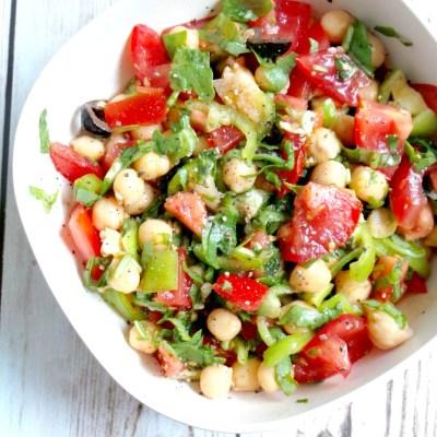 Tomato, Garlic and Chickpea Salad Recipe – Vegan, Gluten-Free