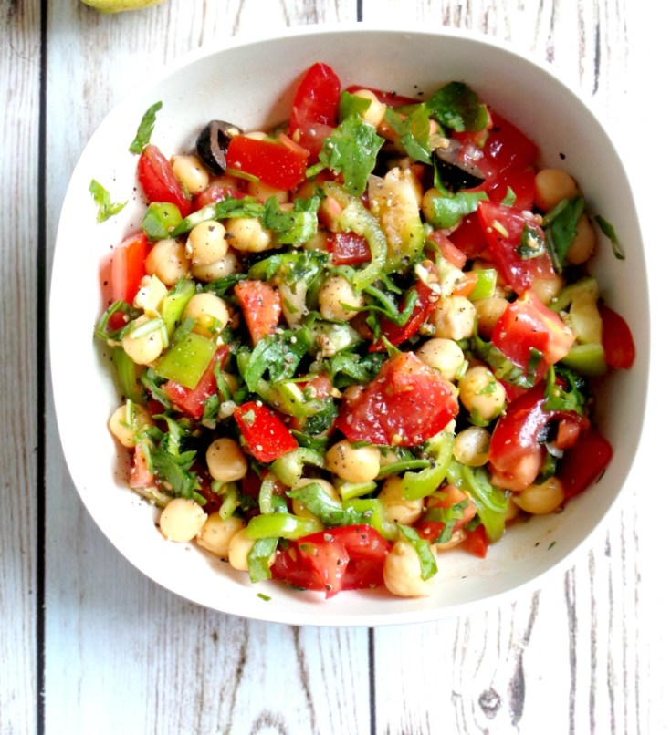 Tomato, Garlic and Chickpea Salad Recipe - Vegan, Gluten-Free