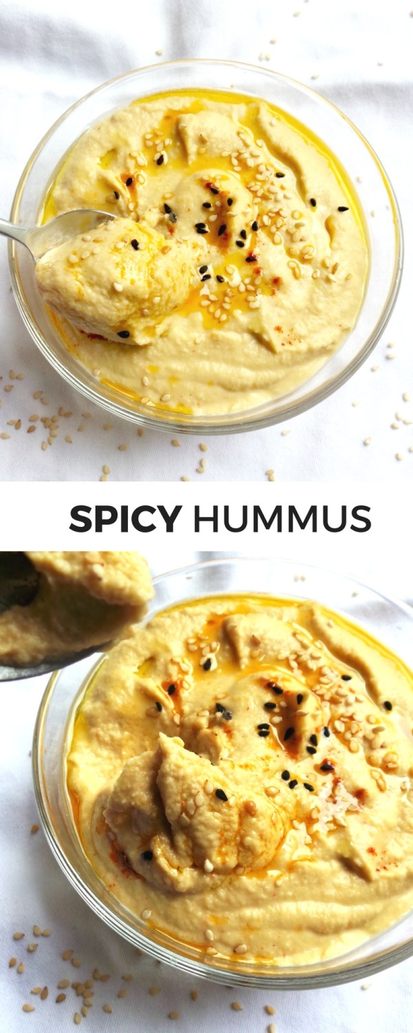 Easy hummus recipe you can make in 5 minutes. The fluffiest hummus, that's also spicy and delicious. Oh, also oil-free. | Easy healthy recipes - vegan