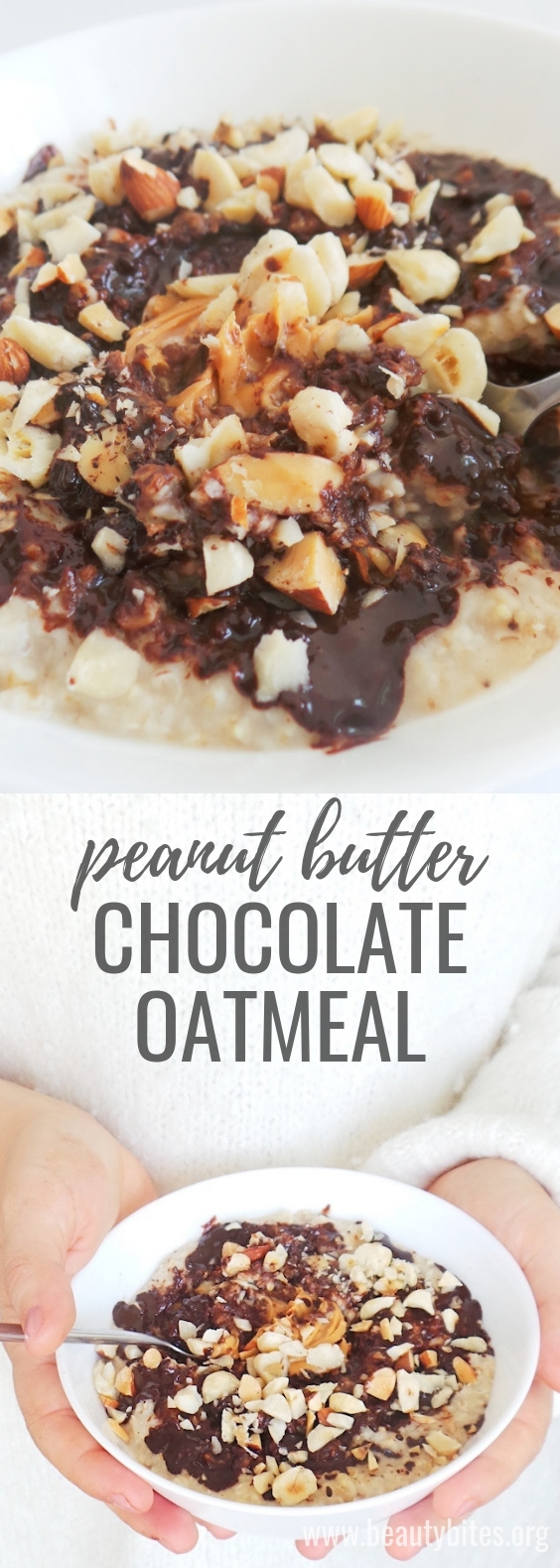 Healthy Peanut butter and chocolate oatmeal! Super easy healthy breakfast that I often misuse as dessert. This healthy vegan breakfast will warm your heart and make you full for a LONG time! Comes together in minutes