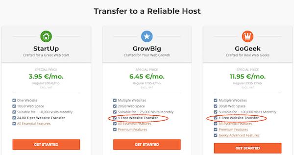 free website transfer Siteground