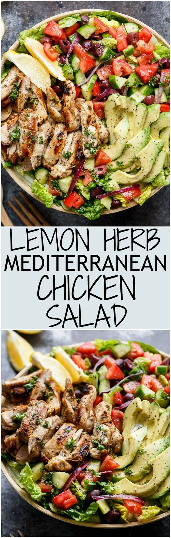 Healthy lemon herb Mediterranean chicken salad - healthy low carb meal for lunch/dinner/always