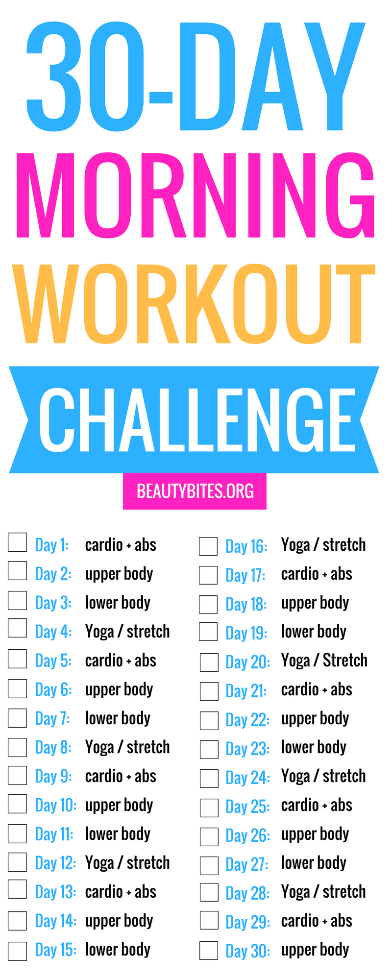 30 Day Morning Workout Challenge You Can Exercise At Home Or At The Gym